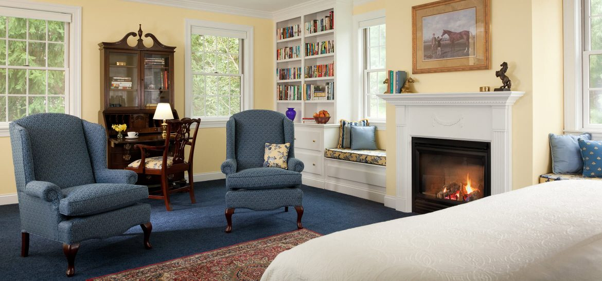 Clydesdale Suite sitting area and fireplace