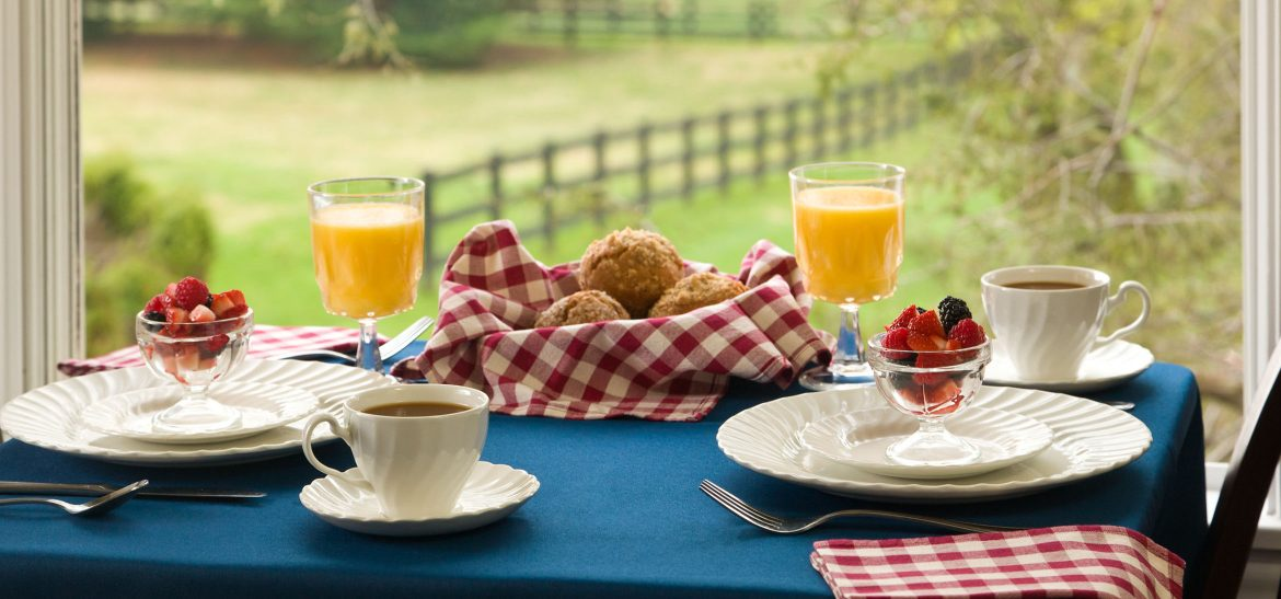 Basket of bread rolls, cups of orange juice, and cups of fruit sit on a breakfast table by a window overlooking green fields
