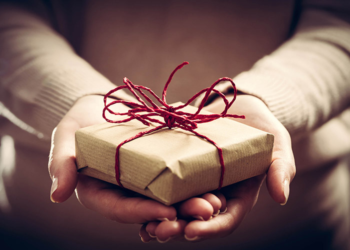 Hands holding small gift package