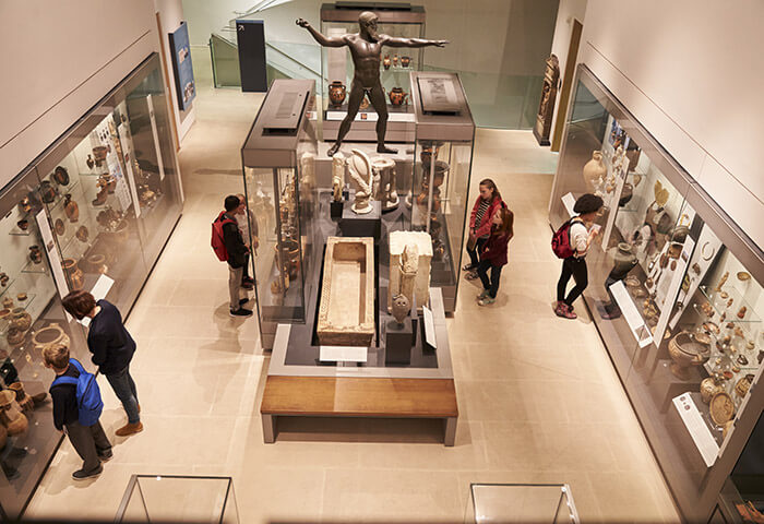 Top-down shot of museum interior