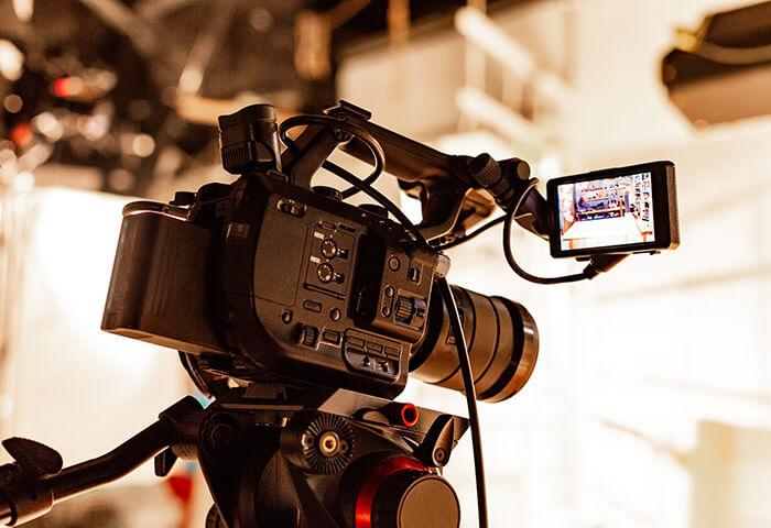 Television camera set up to record