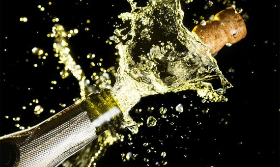 Cork popped off of champagne bottle