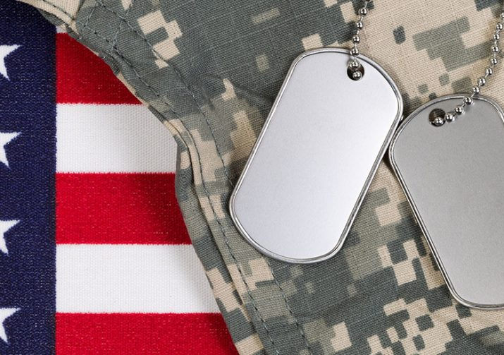 Military dog tags lying on camouflage above american flag