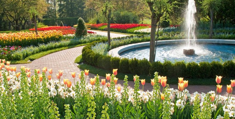 Longwood Gardens spring flowers and fountain