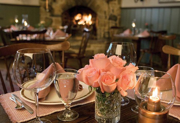 Tables set at the Dilworthtown Inn restaurant