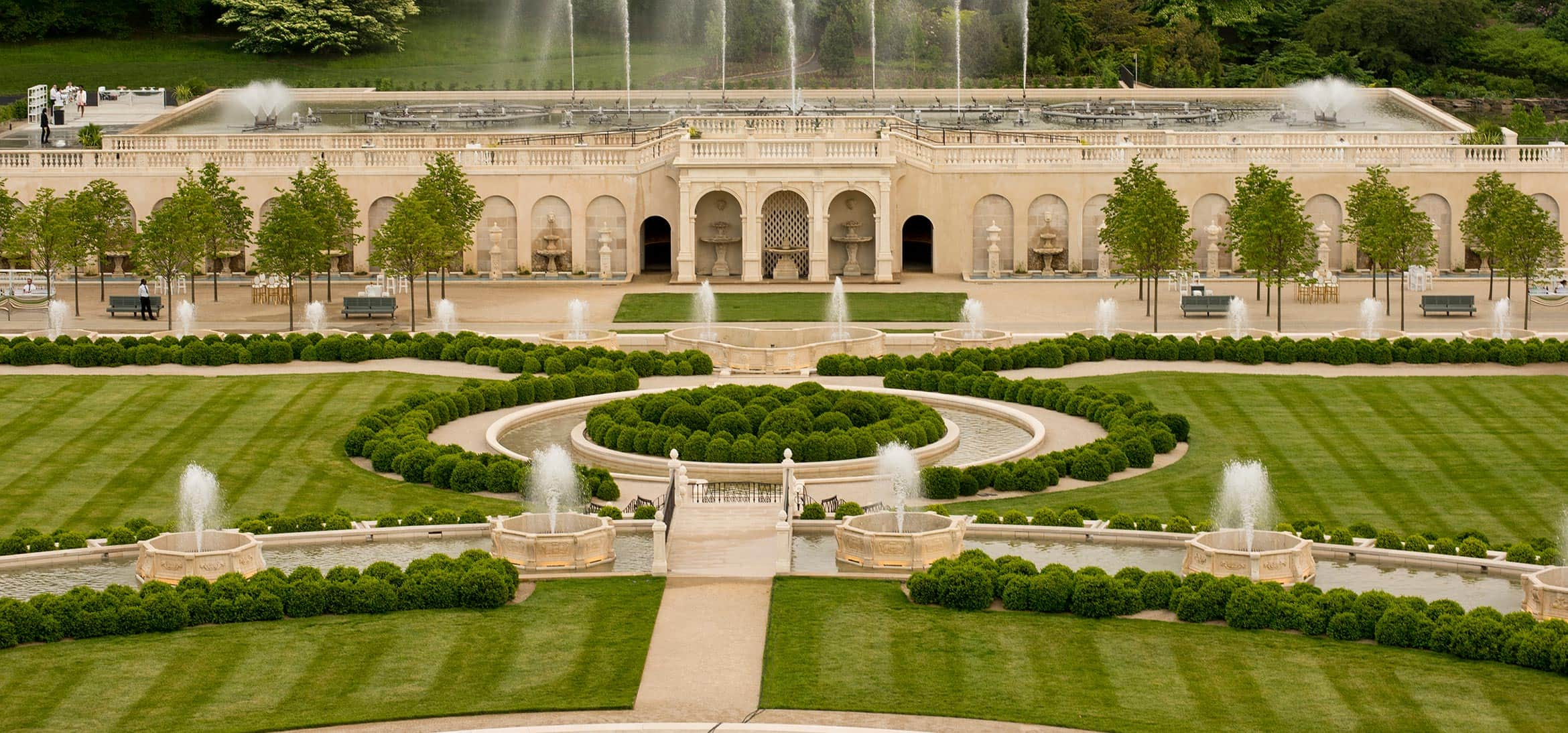 Immaculate gardens and fountains at Longwood Gardens