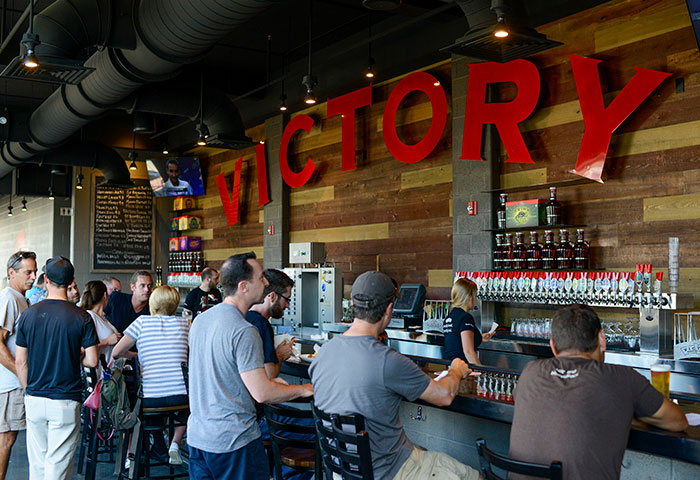 The interior of Victory Brewery, a local business