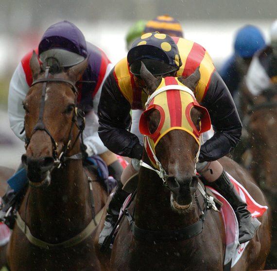 Jockeys racing towards the camera