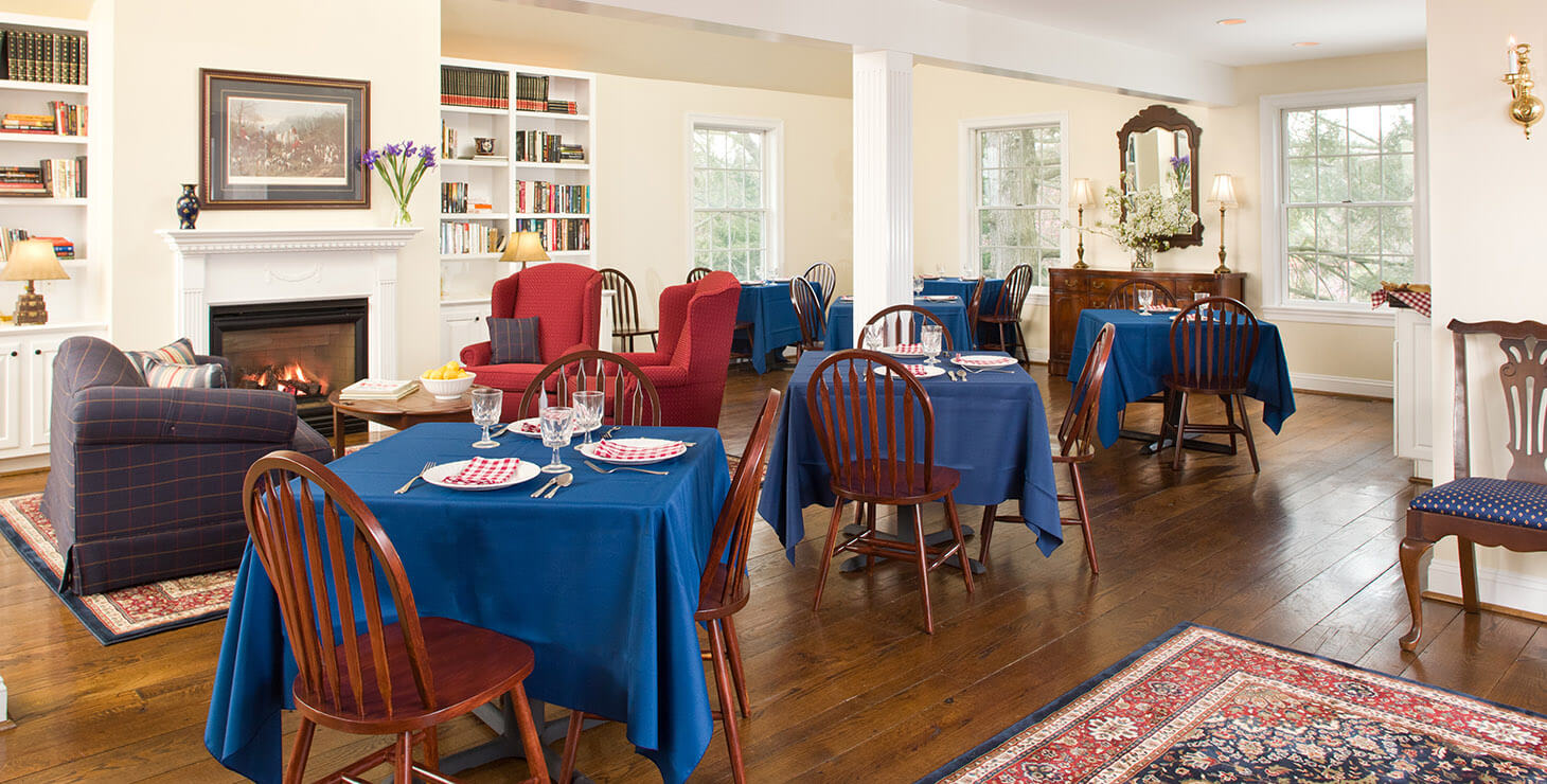 Dining area with couches and tables