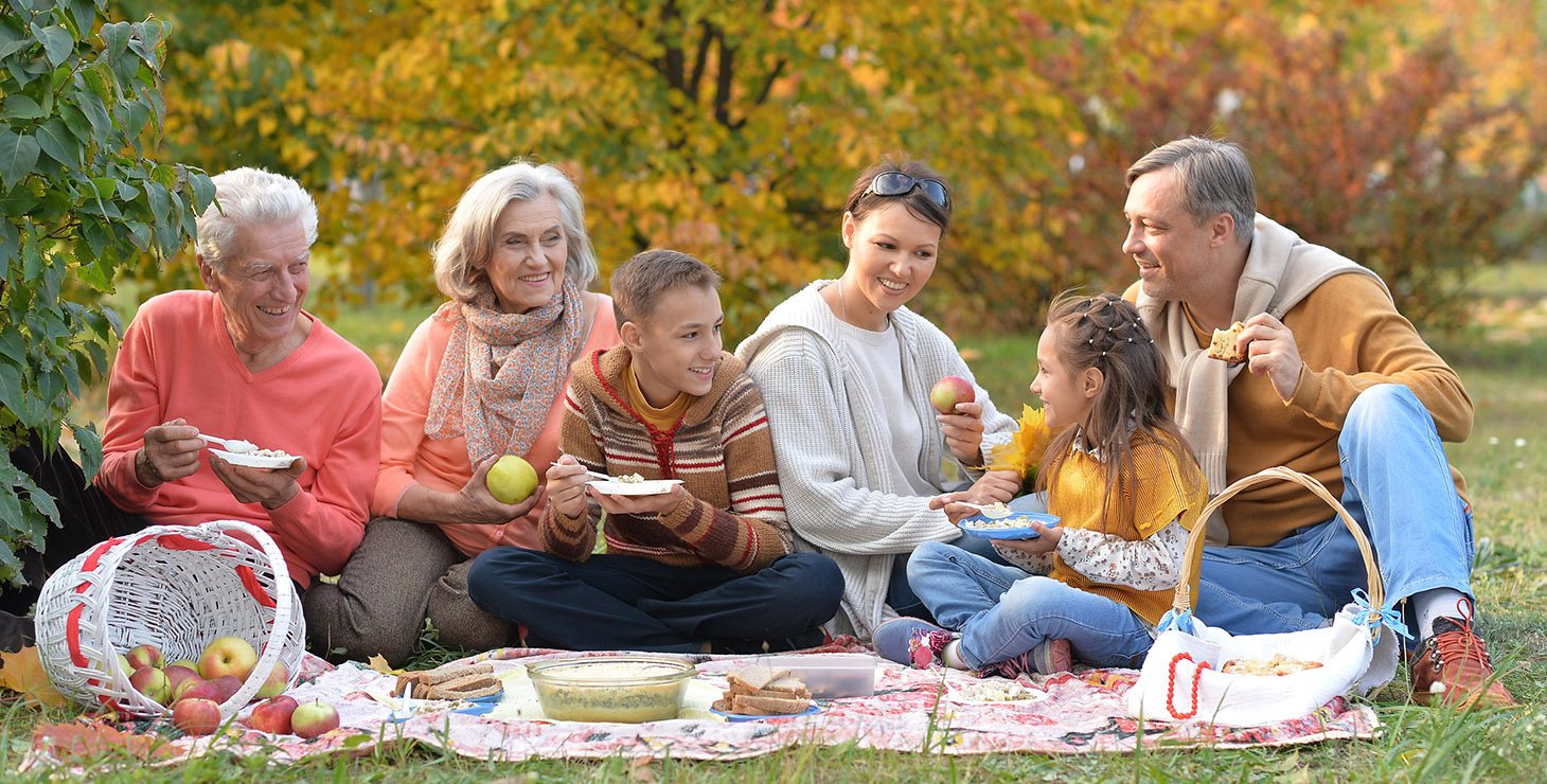Family on picnic blanket together