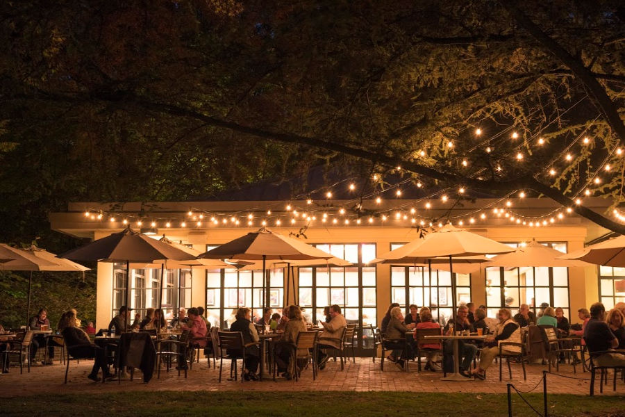 Longwood Beer Garden at night