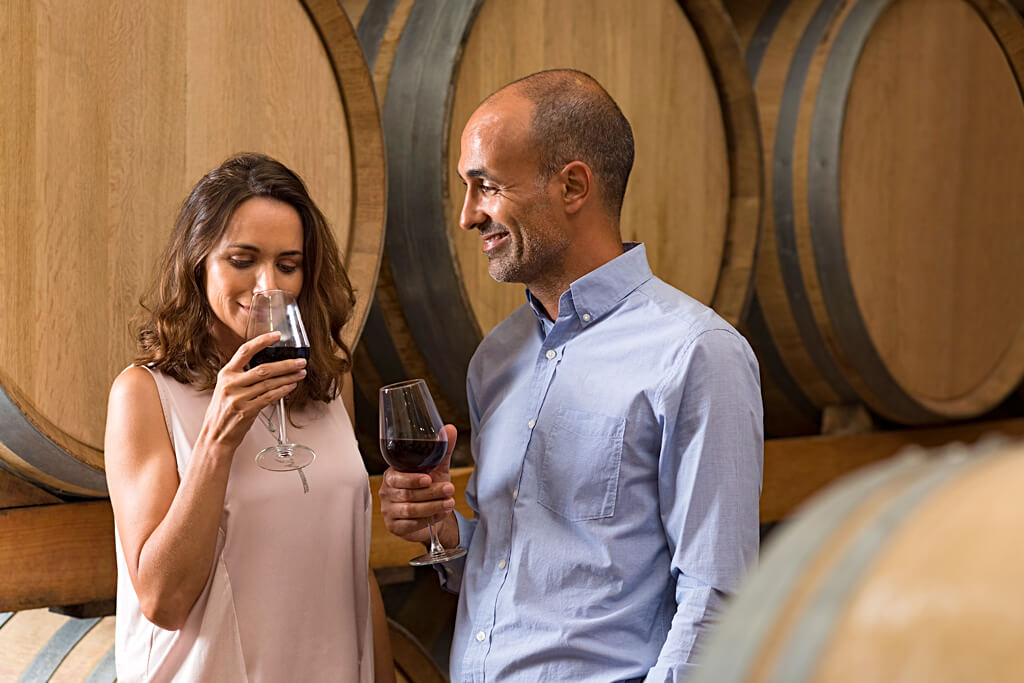 Couple wine tasting in Pennsylvania winery