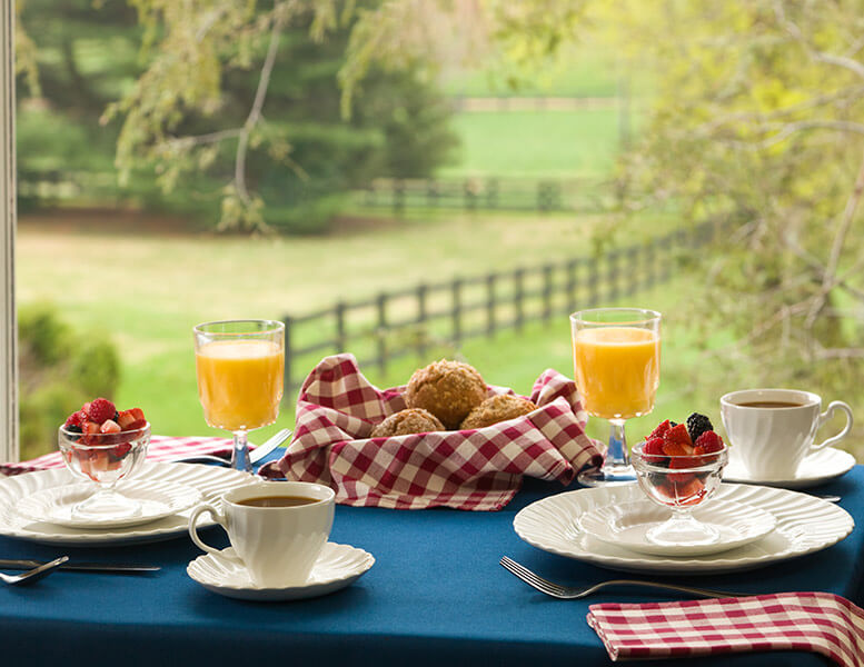 Breakfast Table set with Food