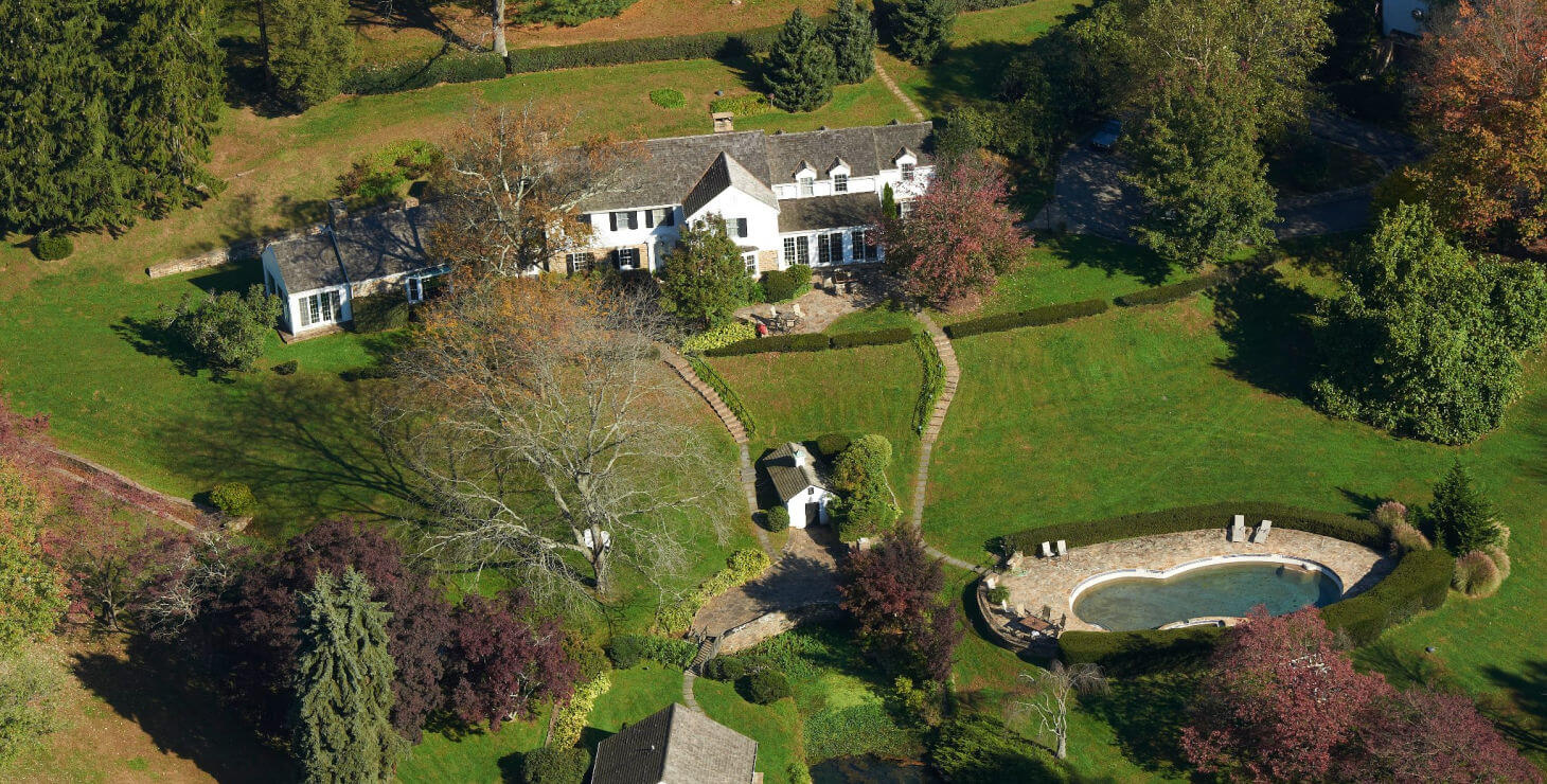 aerial view of the Inn at Whitewing Farm