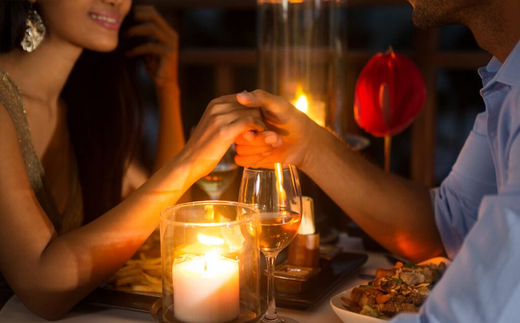 a romantic dinner on the patio